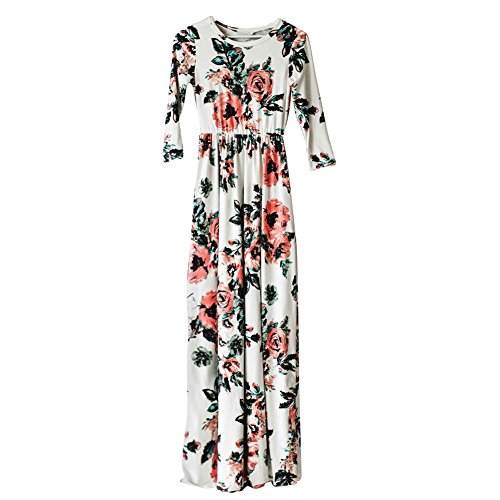 HOOYON Women's Autumn Casual Floral Printed Long Maxi Dress