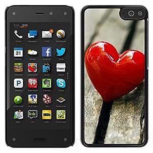 Caucho caso de Shell duro de la cubierta de accesorios de protección BY RAYDREAMMM - Amazon Fire Phone - El amor del Corazón y Madera