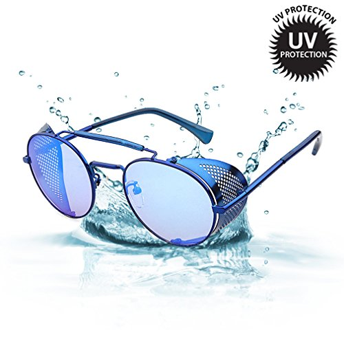 LOMOL Retro Steampunk Rock Metal Frame Personality UV Protection Round Sunglasses For - Sunglasses Awesome Mens