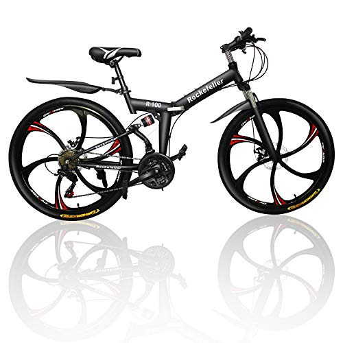 Outroad Mountain Bike 6 Spoke 21 Speed 700CC Double Disc Brake Folding Bike (Black/Orange)