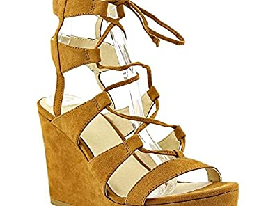 Nine West Womens kaliope Open Toe Casual Platform Sandals cognac Size 90