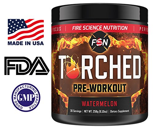 Price comparison product image Fire Science Nutrition Torched Pre Workout Supplement - NO Creatine - Natural Preworkout for Intense Energy & Endurance with NO CRASH - Made in the USA - 30 Servings - Watermelon