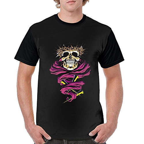 Black Label Christ Skull Stylish Men's Short-Sleeved T-Shirt