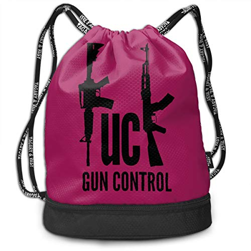 GLSEY Bag Unisex Fuck Gun Control Multifunctional Drawstring Travel Bag Casual Outdoor Daypack