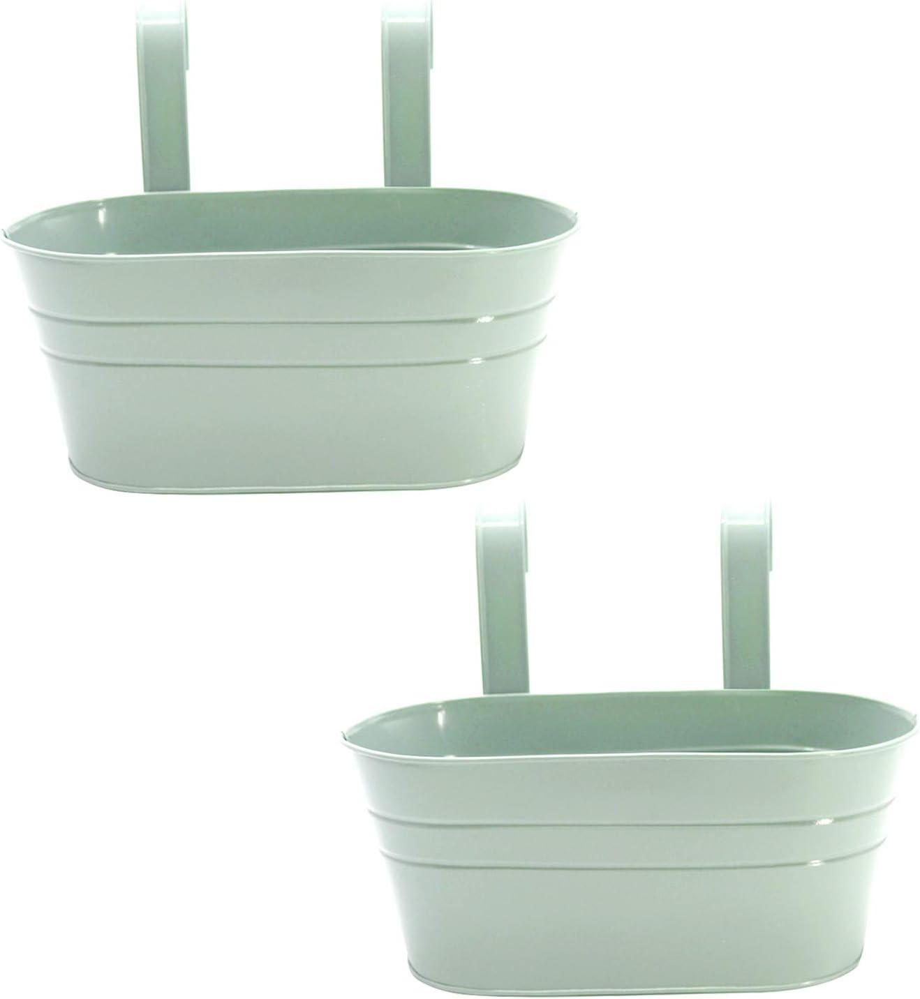 2 Pcs Metal Hanging Flower Plant Pots, Metal Bucket Flower Pots, Fence Bucket, Hanging Flower Pot for Indoor and Outdoor, Storage Bucket in Kitchen or Bathroom, Detachable Hook(Light Green)
