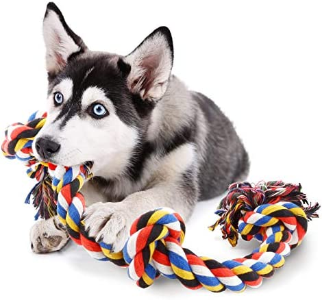 COCHIE Dog Rope Toys for Strong Large Dogs,Dog Chew Toy 4 Knots Rope Tug for Aggressive Chewers, Interactive Rope Chew Toys to Large Dog Breeds 32 Inches