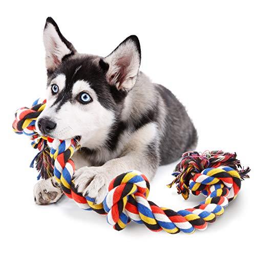 COCHIE Hundespielzeug Seil für Große Hunde, Spielzeug Hund Tau mit 4 Knoten 100CM, Unzerstörbar Interaktives Hunde…