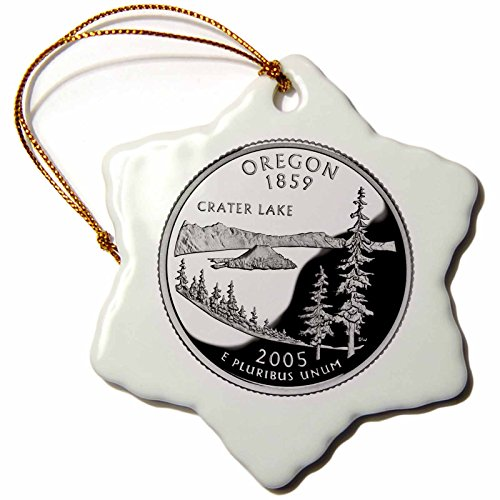 3dRose orn_55300_1 State Quarter of Oregon (PD-US) Snowflake Hanging Ornament, 3-Inch, Porcelain