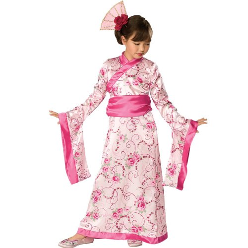[Rubies Girls Asian Princess Halloween Kimono Dress Costume - Medium] (Halloween Costumes For Asian Women)