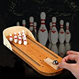 Bidlsbs Desktop Wooden Mini Bowling Game Playset Children Kids Toys Portable Sport Indoor Toy Education Learning Desk Ball Board Toy Gift