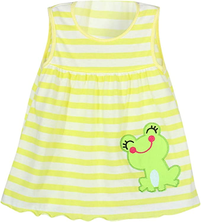 Toddler Infant Kids Girl Baby Cartoon Flower Dot Floral Tees Dress T-Shirt Vest
