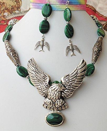 Malachite Eagle - Big Nepal Silver Eagle Pendant Nepal Beads Necklace Earrings Malachite Gemstone Handmade One of a Kind