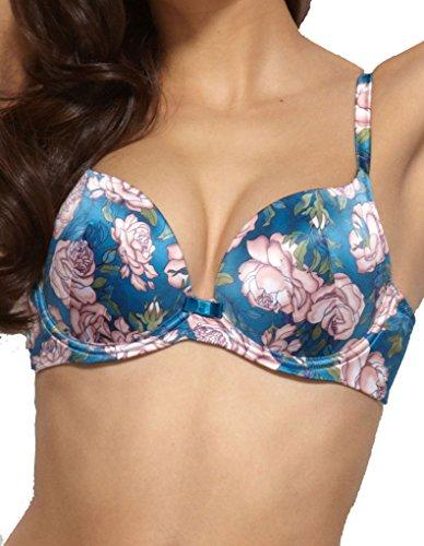 - Gossard Japanese Rose Teal Blue Floral Print Satin Underwired Padded Plunge Bra 11601 36F