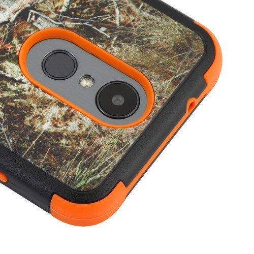 LUXCA LG Aristo3/LG Aristo 2/LG Aristo 2 Plus/LG Tribute Dynasty/LG Fortune 2 Case with Screen Protector, 2 Layer [Drop Protection] Cover Case for LG Aristo 2 Plus (Orange Camouflage Tree)