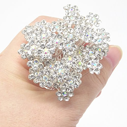 yueton 40 Pack Wedding Bridal Flower Crystal Rhinestone Hair Pins Clips Rhinestone Hair Clips for Women and Girls