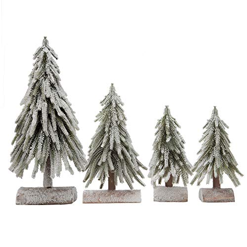 VGIA 4pcs Mini Christmas Trees Separate Spray Snow Christmas Trees with Wooden Bases (Large Wooden Christmas Tree)