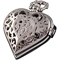 VIGOROSO Women's Steampunk Pocket Watch Heart Harry Potter Locket Style Pendant Necklace Chain in Gift Box(Silver)
