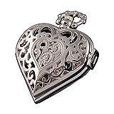 VIGOROSO Women's Steampunk Pocket Watch Heart Harry Potter Locket Style Pendant Necklace Chain in Gift Box(Silver)