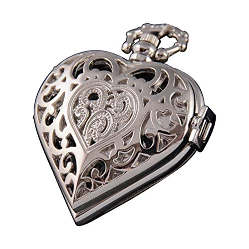 ampunk Pocket Watch Heart Harry Potter Locket Style Pendant Necklace Chain in Gift Box(Silver) ()