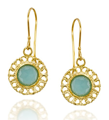 Graceful Women's Jewelry Round 14k Gold Plated Silver Crated Blue Quartz Earrings with Filigree Hearts