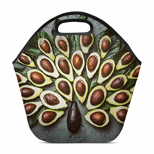 Design Lightweight Neoprene Lunch Bag Insulated Lunch Tote Bag Lunch box  Custom Peacock Made From Avocado Palta And Avocado Tree Leaves On Gray