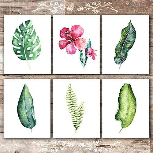 Botanical Prints Wall Art - Tropical Leaves Wall Decor Art Prints - (Set of 6) - Unframed - 8x10s