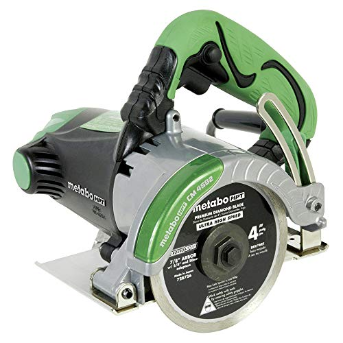Metabo HPT CM4SB2 Handheld 4-Inch Dry Cut Masonry Saw, Includes 4-Inch Diamond Blade, Cuts Pavers, Concrete, Tile and More, 11.6-Amp Motor, Soft Grip Handle, Compact and Lightweight, 1-Year Warranty ()