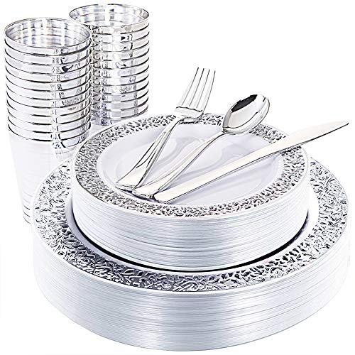 WDF 25Guest Silver Plastic Plates with Disposable Plastic Silverware&Silver Rim Cups- include 25 Dinner Plates, 25 Salad Plates,25 Forks, 25 Knives, 25 Spoons&25 Plastic Cups]()