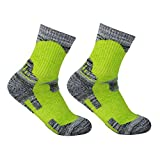 YUEDGE Women's 2 Pack Antiskid Wicking Cushion Cotton Socks For Outdoors Camping Hiking Sports(Green)