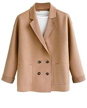 b134aeb526b Bravepe Women s Double Breasted Plus Size Wool Blend Polar Fleece Autumn  Winter Trench Pea Coat Outerwear