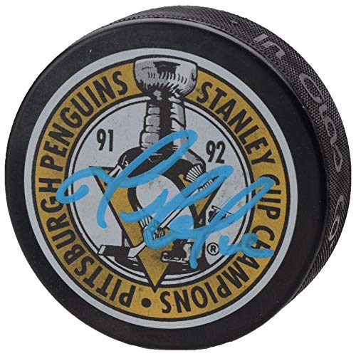Mario Lemieux Pittsburgh Penguins FAN Autographed Signed 1992 Stanley Cup Champions Logo Hockey Puck - Certified Signature