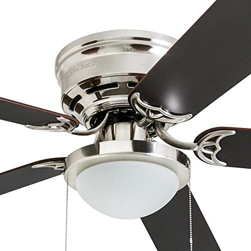 Harbor Breeze Armitage 52-in Brushed Nickel Indoor Flush Mount Ceiling Fan