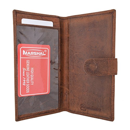 Vintage Genuine Leather RFID Blocking Simple Checkbook Cover with Snap Closure (Simple Checkbook Cover)