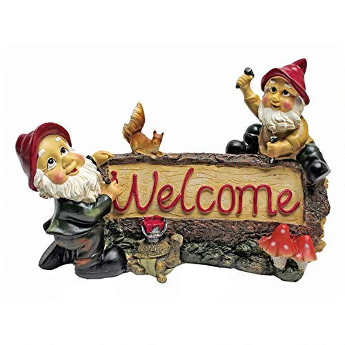 Garden Gnome Statue - Greeting from the Garden Gnomes Welcome Sign - Lawn Gnome