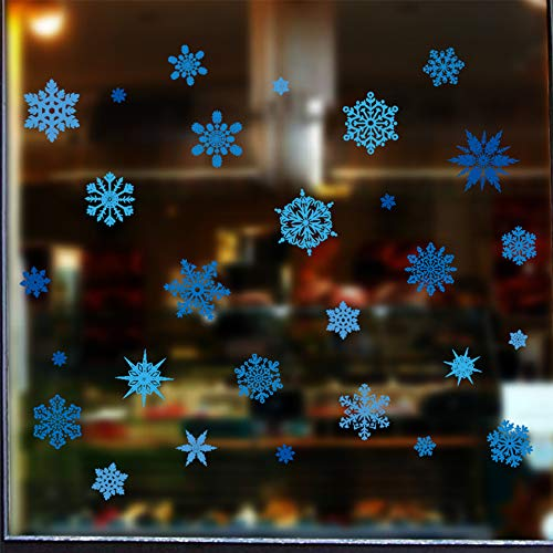Dktie Winter Christmas Blue Snowflake Decoration Holiday Gifts Christmas Wall Decal Sticker (40cmx60cm, Blue Snowflake)]()