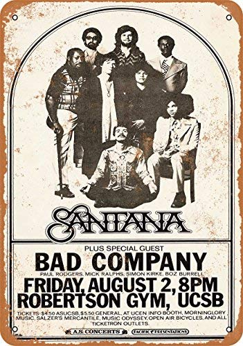 ACOVE 1974 Santana and Bad Company in Santa Barbara Vintage Look Metal Tin Sign - 10x14 inch