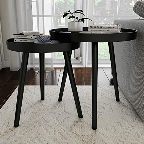 Lavish Home 80-FT-4 Contemporary Decor and Home Accent Table with Tray Top (Black, Set of 2),