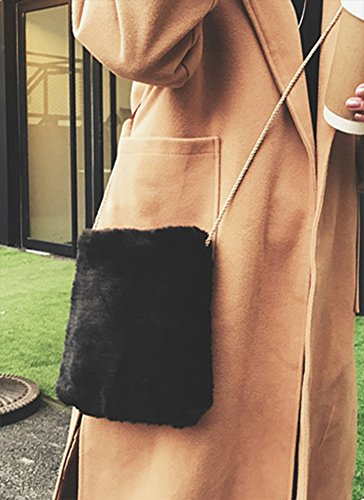 Women's Shoulder Fur Spring Soft Plush Black Bag Faux QZUnique Cossbody Handbag Tote gwqUBCB