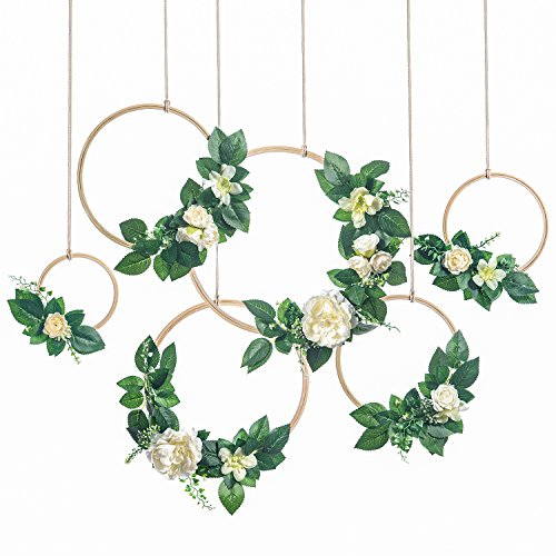 (Ling's moment Summer Greenery Wedding Handcrafted Vine Wreaths Set of 6, Christmas Decor Rustic Wedding Backdrop, Artificial Roses Plant Flower Garland, Woodland Wedding Decoration Floral Hoop)
