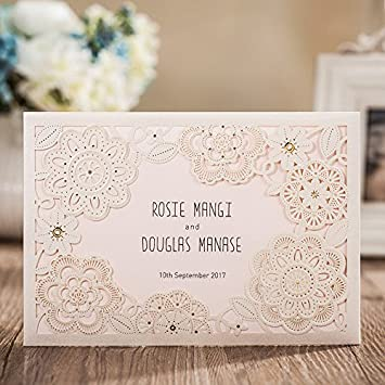 Amazon wishmade wedding invitations cards white 1 piece wishmade wedding invitations cards white 1 piecesample cw6081 customized stopboris Image collections