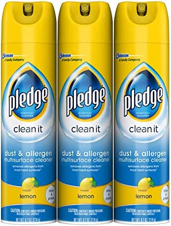 Pledge Dust & Allergen Multi-Surface Disinfectant Cleaner Spray, Works on Leather, Granite, Wood, and Stainless Steel, Lemon, 9.7 oz. - Pack of three