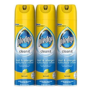 Pledge Dust & Allergen Multi-Surface Disinfectant Cleaner Spray, Works on Leather, Granite, Wood, and Stainless Steel, Lemon, 9.7 oz - Pack of 3