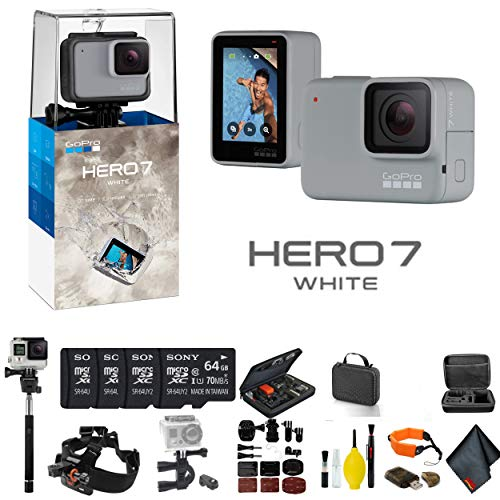 GoPro HERO7 White - Bundle Includes: 4 64GB Memory Cards, Case, Chest Mount, Handle Bar Mount, Selfie Stick, Floating Strap More. -