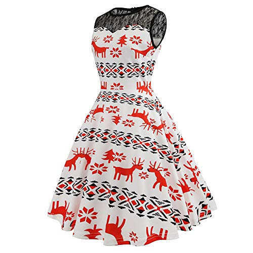 Courte Noël Party Swing Y Genou Elegant Dames De Imprimé Mi Manche blanc Noel Dentelle Fleur Soirée Femmes longue Fete Robe Mrulic 41wpqZSWq