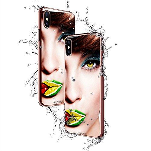 GIRL W/ GUYANA FLAG LIPS | Luxendary Chrome Series designer case for iPhone X in Rose Gold trim