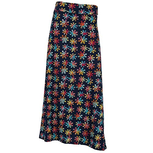 - Arianna by Howard's Multi Color Snowflake Print Maxi Skirt Small