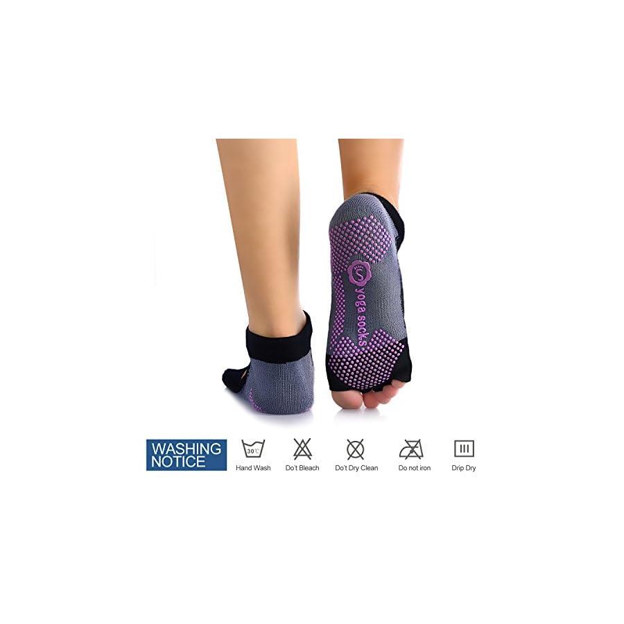 Freehawk Ballet Yoga Socks, Dancing Yoga Pilates Socks with Grips Cotton Pilates Barre Gym Fitness Sports Women Non slip Dance Socks for Fintness Yoga Socks (Black)