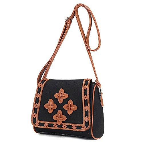 Noir Nouveau Fourre femmes Sac cuir en Satchel Bag à Messenger épaule tout ESAILQ bandoulière 6FwdOqw
