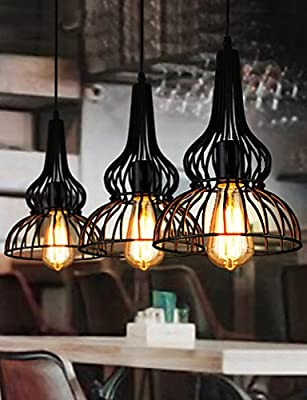 LINA@ Loft Vintage Pendant Light American Industrial Wind Bar Cafe Bedroom Restaurant Single Head Wrought Iron Droplight-YS