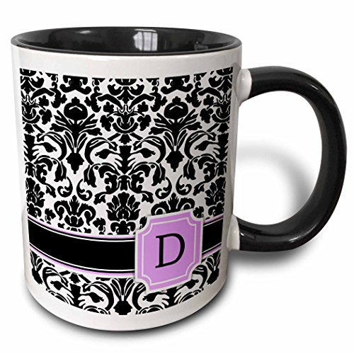 3dRose Personal initial D monogrammed pink black and white damask pattern girly stylish personalized letter - Two Tone Black Mug, 11oz (mug_154379_4), 11 oz, Black/White